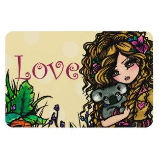 """""""Love"""" Aussie Girl & Koala Original Art Magnet"""