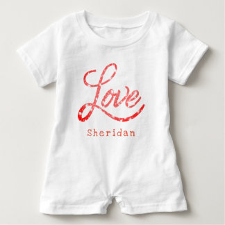 Love Baby | Name Pink and White Glitter Stars | Baby Bodysuit
