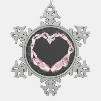 Love Ballet Snowflake Pewter Christmas Ornament