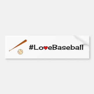 Love baseball slogan white bumper sticker