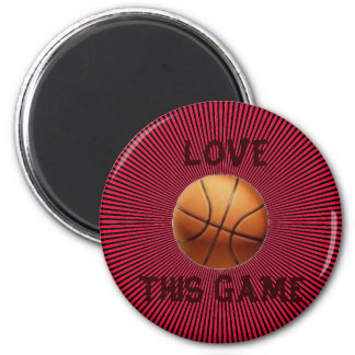 LOVE BASKETBALL 6 CM ROUND MAGNET