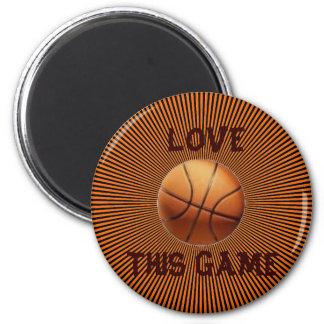 LOVE BASKETBALL 6 CM ROUND MAGNET