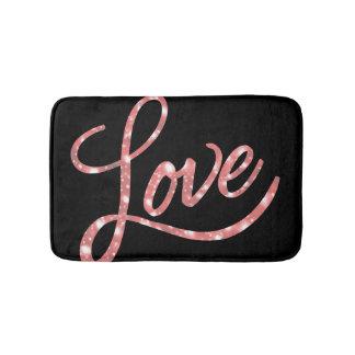 Love Bath | Black and Pink Glitter Stars Sparkle | Bath Mat