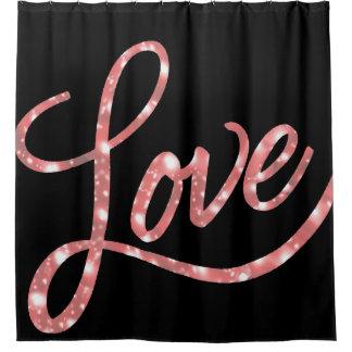 Love Bath | Black and Pink Glitter Stars Sparkle | Shower Curtain