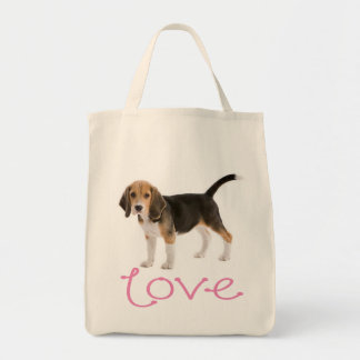 Love Beagle Puppy Dog Canvas Totebag Tote Bag