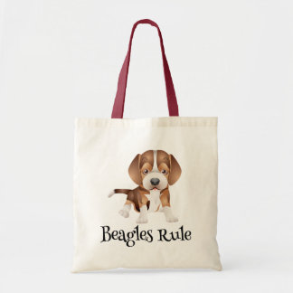 Love Beagle Puppy Dog Canvas Totebag Budget Tote Bag