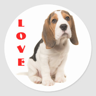 Love Beagle Puppy Dog Classic Round Sticker