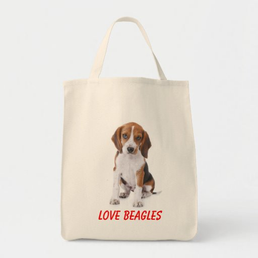 Love Beagles Puppy Dog Canvas Totebag Canvas Bags