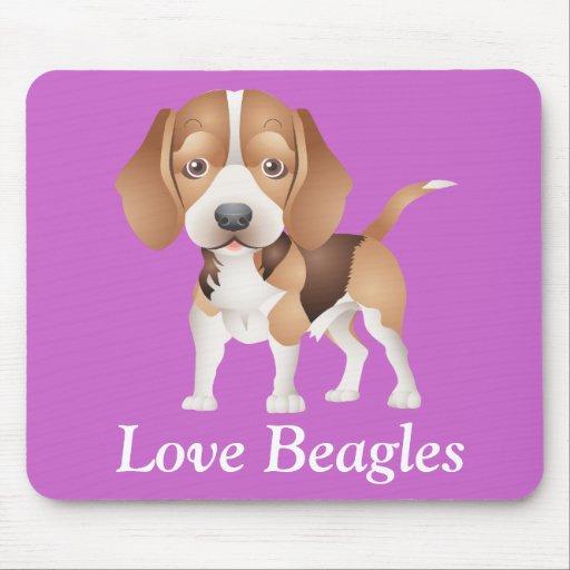 Love Beagles Puppy Dog Cartoon Mouse Pad
