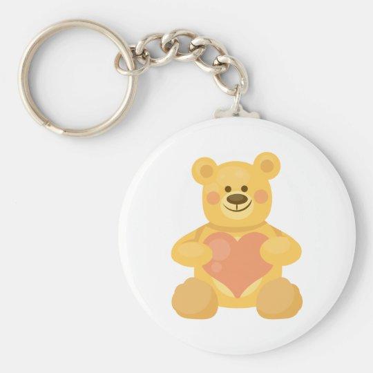 Love Bear Basic Round Button Key Ring