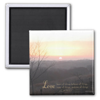 Love Bears All Things 1 Cor. 13:4,7 Square Magnet