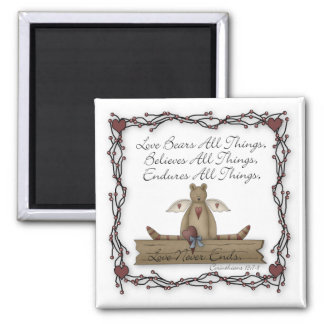 Love Bears All Things Country Angel Teddy Bear Square Magnet