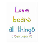 """Love bears all things"" Postcard"