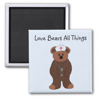 Love Bears All Things Square Magnet