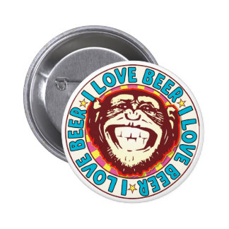Love Beer Monkey 6 Cm Round Badge