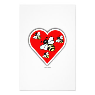 Love Bees (Four Bees Within Red Heart) Personalised Stationery