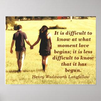Love Begins - Longfellow quote - art print