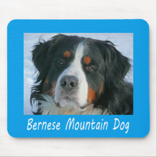 Love Bernese Mountain Puppy Dog Blue Mouse Pad