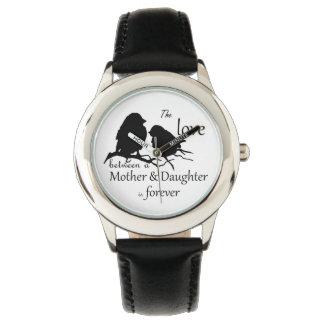 Love Between Mother Daughter Bird Quote Wristwatch