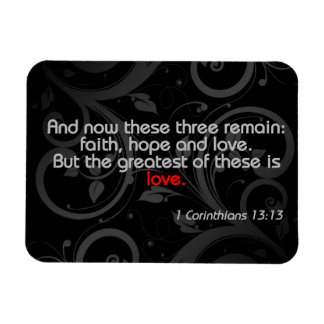 Love Bible Verse, Black/Red Rectangle Magnets