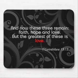Love Bible Verse, Black/Red Mouse Pad