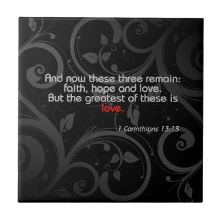 Love Bible Verse, Black/Red Tile
