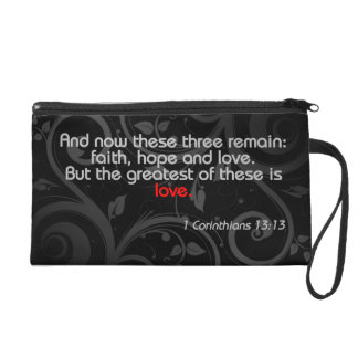 Love Bible Verse, Black/Red Wristlet Purses