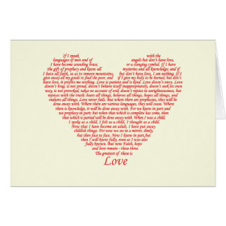 Love bible verse heart design of 1 Corinthians 13 Greeting Card
