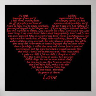 Love bible verse heart design of 1 Corinthians 13 Poster