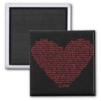 Love bible verse heart design of 1 Corinthians 13 Square Magnet