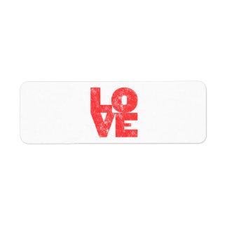 Love (big block letterpress style) return address label