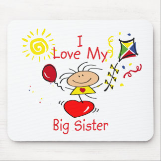 Love Big Sister Stick Figure Girl Mousepads