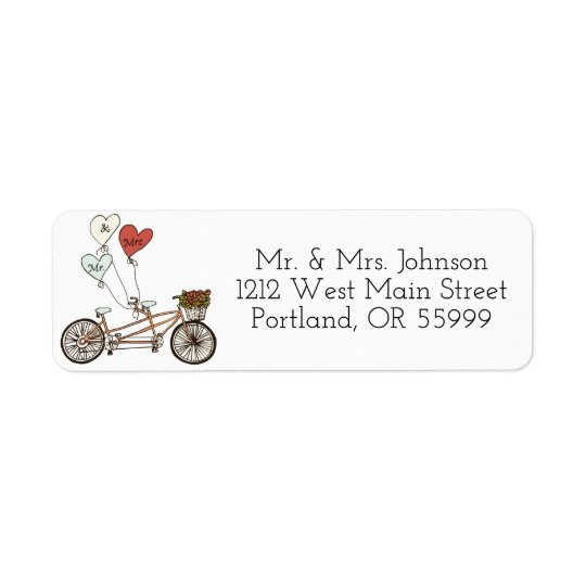 Love bike Mr. & Mrs. address labels