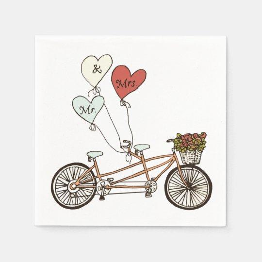 Love bike Mr. & Mrs. paper napkin
