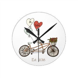 Love bike Mr & Mrs wall clock