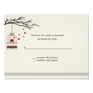 Love Bird in a Birdcage Wedding RSVP 11 Cm X 14 Cm Invitation Card