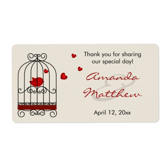 Love Bird in Birdcage Wedding Favour Labels