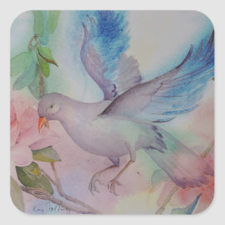 Love Bird in Blue and Pink Square Sticker
