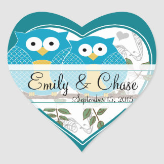 Love Bird Owls Sitting on a Branch Wedding Sticker