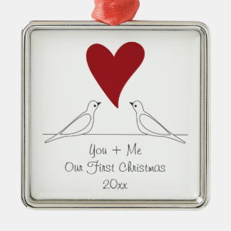Love Bird Red Heart Simple Rustic Personalized Silver-Colored Square Decoration
