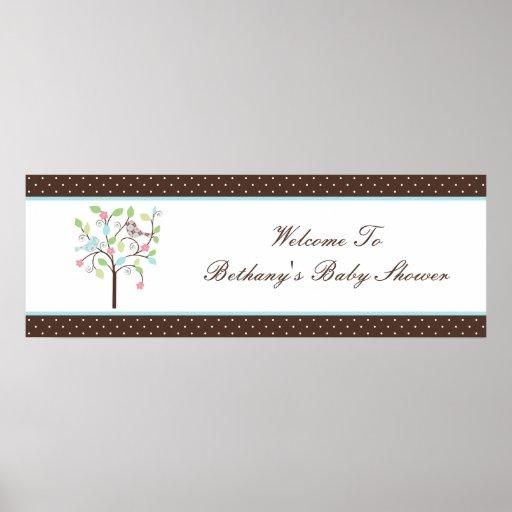 Love Bird Tree Polka Dots Baby Shower Banner Poster