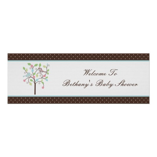 Love Bird Tree Polka Dots Baby Shower Banner Poster