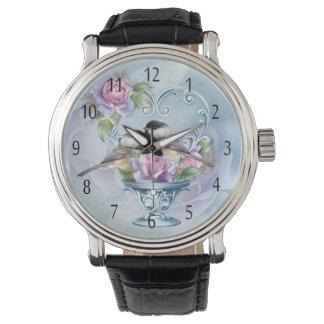 Love Bird Valentine Watch, Black Leather Strap Wrist Watches