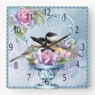 Love Bird Valentine's Day Square Wall Clock