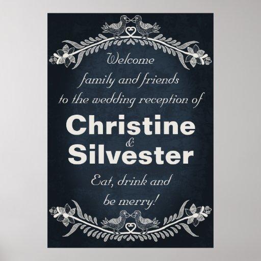 Love Bird Vines, wedding reception welcome Posters