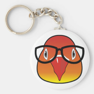 Love bird with glasses basic round button key ring