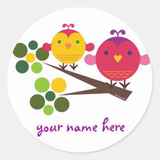 love birdies round sticker
