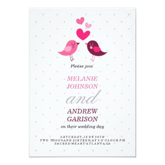 Love Birds 13 Cm X 18 Cm Invitation Card