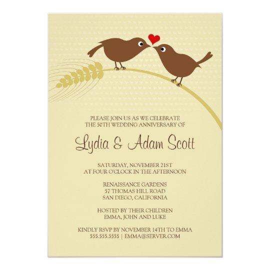 Love Birds 25th Silver Wedding Anniversary Party Card