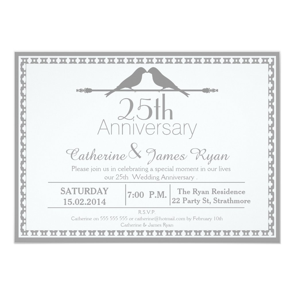 Love Birds 25th Wedding Anniversary Invitation